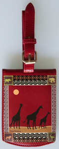 SHAGWEAR AFRICAN SAFARI RED LUGGAGE TAG