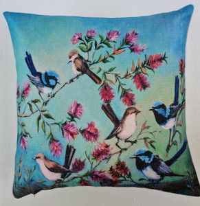 BLUE WREN CUSHION COVER 45cm x 45cm (COVER ONLY)