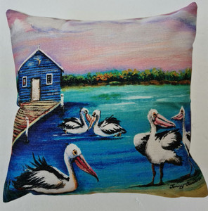 PELICANS-HOUSE ON THE BAY CUSHION COVER + INSERT 45cm x 45