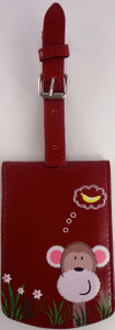 SHAGWEAR  LUGGAGE TAG PEEKIN MONKEY RED
