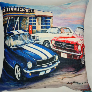 3 MUSTANGS  CUSHION COVER + INSERT 45cm x 45