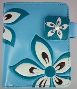 ShagWear Wallet Small Turquoise Flowers ZIP