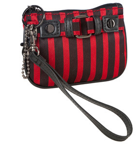 SL Blk Stripes Red Coin/Camera Wristlet