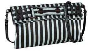 SL Blk Stripes Silver Clutch/Cross Body Strap