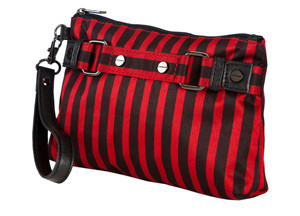 SL Blk Stripes Red Cosmetic Wristlet