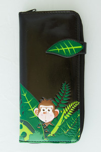 SHAGWEAR MONKEYS BLACK LARGE ZIPPER WALLET