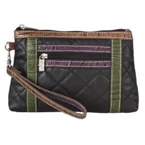 SL Quilted & Croc Cosmetic Wristlet