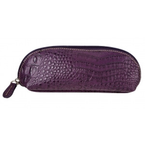 SL Quilted & Croc Eyeglass/Cosmetic/Pencil case Purple