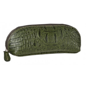 SL Quilted & Croc Eyeglass/Cosmetic/Pencil case Green