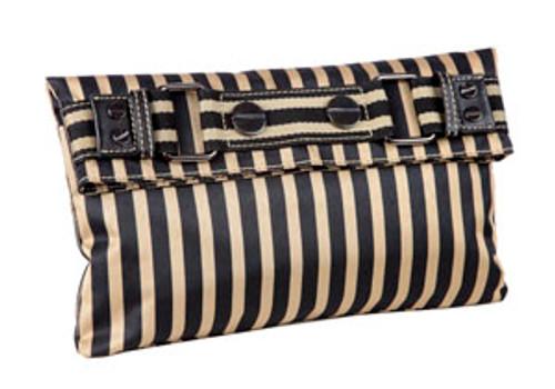 Sydney Love Black/Gold Striped Clutch/opt Across body Strap