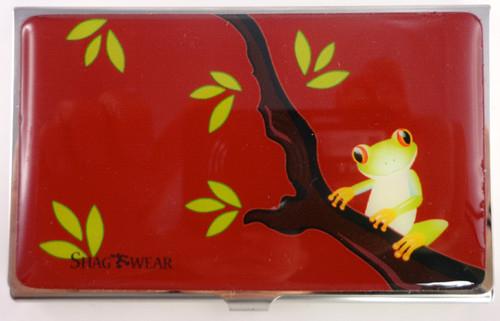 SHAGWEAR TREE FROG RED BUSINESS CARD HOLDER