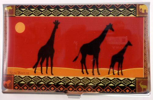 SHAGWEAR AFRICAN SAFARI RED BUSINESS CARD HOLDER
