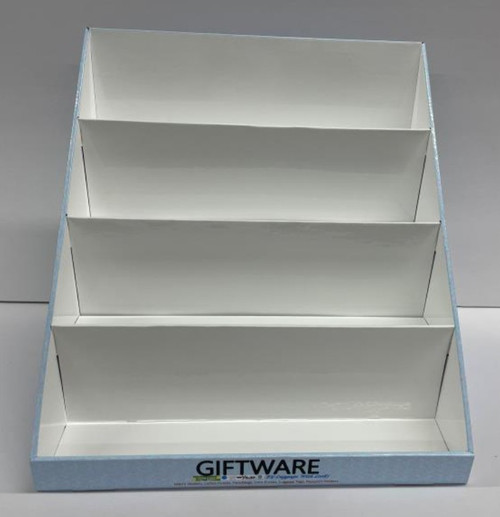 White cardboard  display that holds 32 wallets and purses.  Free to new customers purchasing more than 40 wallets. limit 1 per customer.