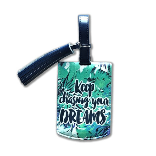 LISA POLLOCK GREEN LEAVES DREAM LUGGAGE TAG