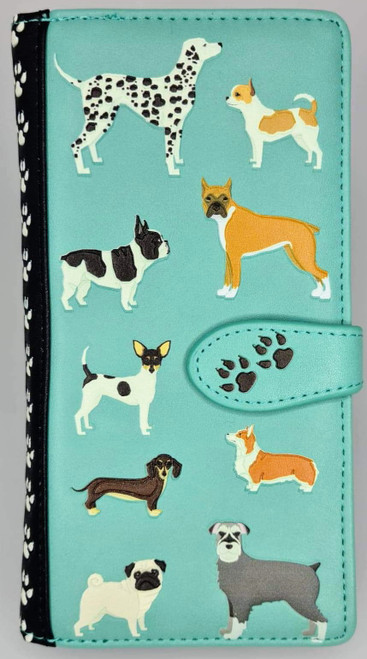 DOGS DOGS DOGS TEAL ZIPPER WALLET