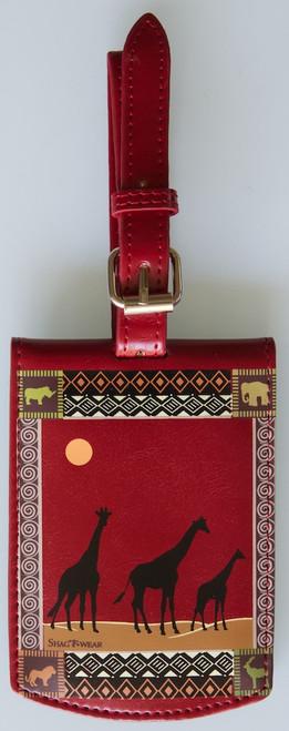 SHAGWEAR AFRICAN SAFARI RED LUGGAGE TAG