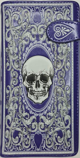 SKULL CARD PURPLE LARGE WALLET