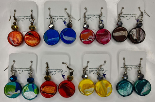 ASSORTED 8 PC PAPAYA BUTTONS EAR RINGS