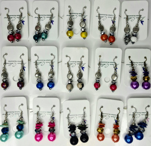 ASSORTED 15PC CRYSTAL PEARL EAR RINGS