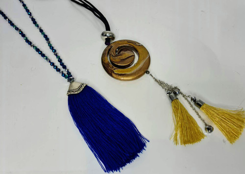 SWIRL AND TASSEL NECKLACE 10PCE PACK