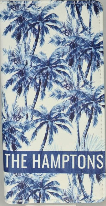 HAMPTONS BLUE PALM PRINT RFID PROTECTED
