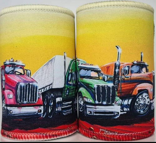 3 TRUCKS RED/RGN/ORNG STUBBY COOLER