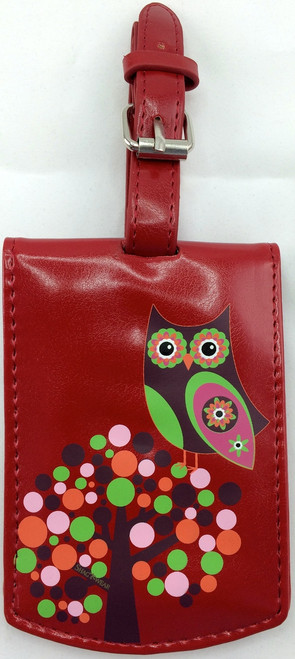 SHAGWEAR LUGGAGE TAG RETRO OWL RED