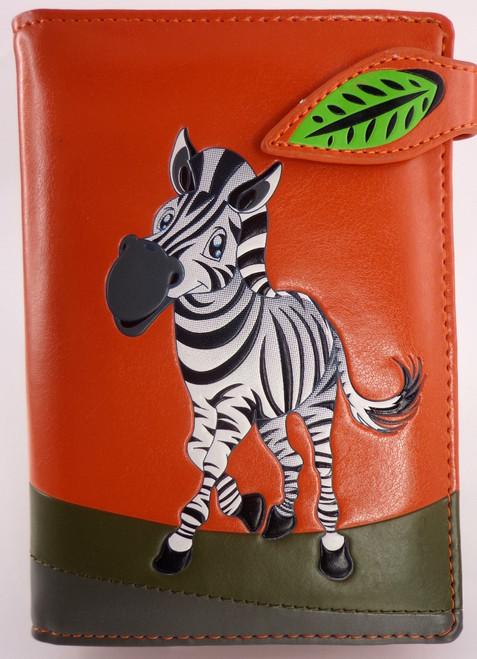 SHAGWEAR ZEBRA ORANGE PASSPORT HOLDER