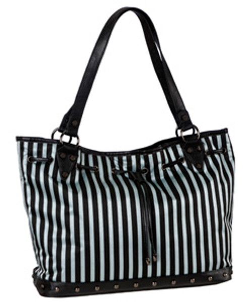 SL Blk Stripe Silver Bucket Bag