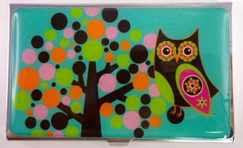 SHAGWEAR RETRO OWL TEAL BUSINESS CARD HOLDER