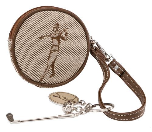 SL Classic Golf Jacquard Round Coin Purse & Golf Key Ring