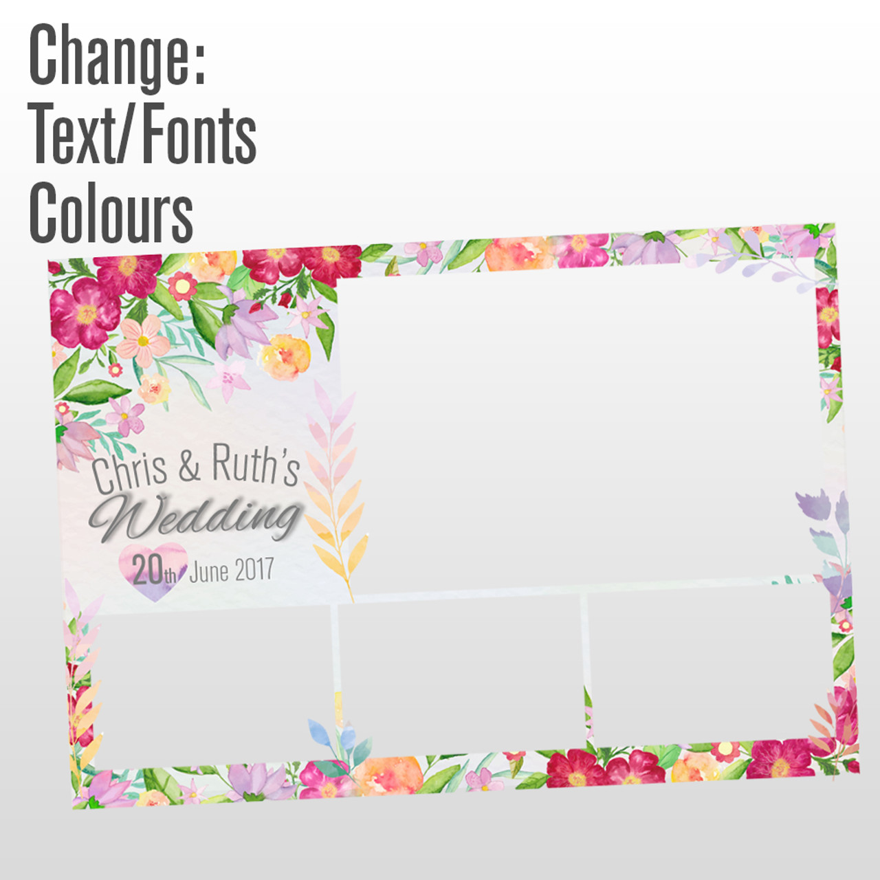 4 photo floral photo booth template - Reakt Photo Booths