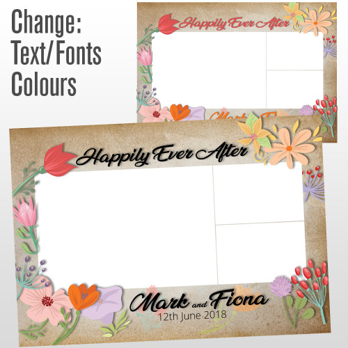 3 photo brown paper flowers photo booth template