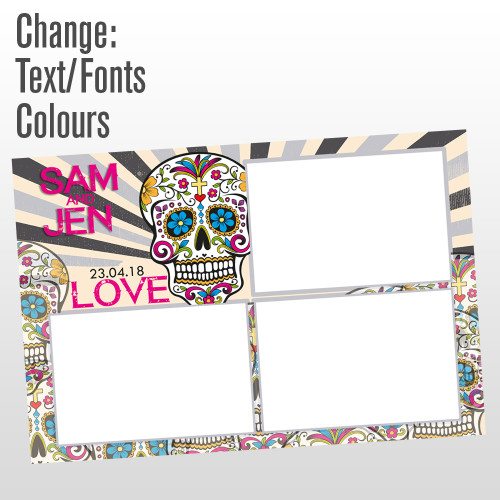 3 photo sugar skull photo booth template