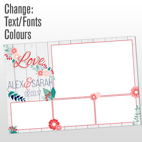 4 photo white wood love photo booth template