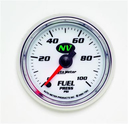 Auto Meter NV Series Fuel Pressure Luminescent Green Gauge (0 to 100 PSI) - 7363