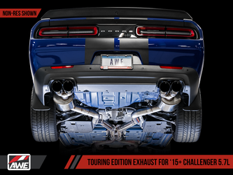 AWE Touring Edition Exhaust for 15+ Challenger 5.7 - Resonated - Diamond Black Quad Tips - 3015-43154