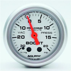 Auto Meter Analog Ultra-Lite Series Boost/Vacuum Gauge (-30 to 20 PSI) - 4301