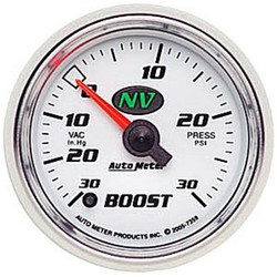 Auto Meter NV Series Boost/Vacuum Luminescent Green Gauge (-30 to 30 PSI) - 7359