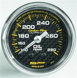 Auto Meter Carbon Fiber Series Analog Oil Temperature Gauge (140 to 280 F) - 4741