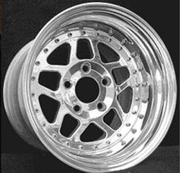 HHP Ultra-Lite 3-Piece Bolted 15x9.5 - 6.25 BS - Aluminum Rear Drag Rim - 2-Door LC Cars - For Cars With Rear Brake Conversions - HHPDRAGRLC15