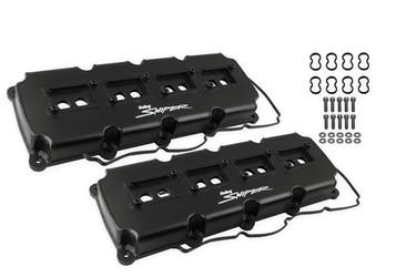 Holley Sniper Fabricated Valve Covers - 5.7L-6.1L-6.4L Mopar Gen III Hemi - Black Finish - 890015B