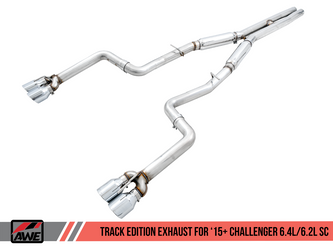 AWE Track Edition Exhaust for 15+ Challenger 6.4 / 6.2 SC - Chrome Silver Quad Tips - 3015-42136