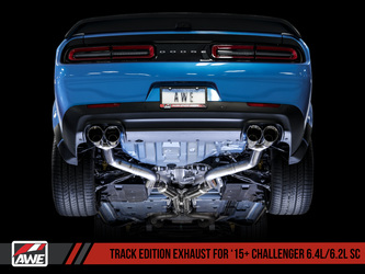 AWE Track Edition Exhaust for 15+ Challenger 6.4 / 6.2 SC - Diamond Black Quad Tips - 3015-43144