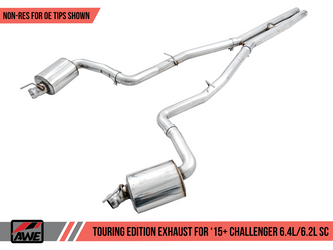 AWE Touring Edition Exhaust for 15+ Challenger 6.4 / 6.2 SC - Non-Resonated - Stock Tips - 3020-11028