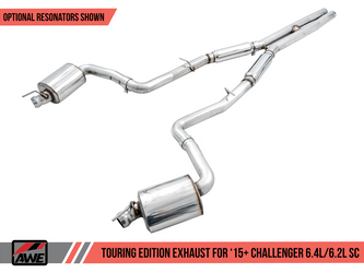 AWE Touring Edition Exhaust for 15+ Challenger 6.4 / 6.2 SC - Resonated - Stock Tips - 3015-11052