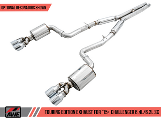 AWE Touring Edition Exhaust for 15+ Challenger 6.4 / 6.2 SC - Resonated - Chrome Silver Quad Tips - 3015-42138