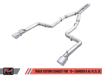AWE Track Edition Exhaust for 15+ Charger 6.4 / 6.2 SC - Chrome Silver Tips - 3015-32112
