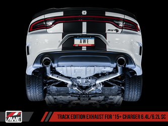 AWE Track Edition Exhaust for 15+ Charger 6.4 / 6.2 SC - Diamond Black Tips - 3015-33126