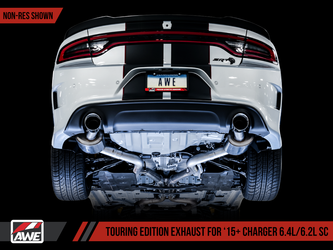 AWE Touring Edition Exhaust for 15+ Charger 6.4 / 6.2 SC - Resonated - Diamond Black Tips - 3015-33128